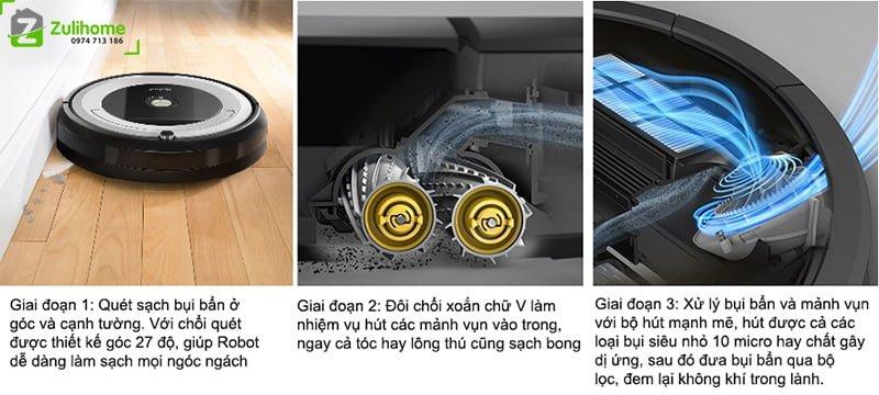 Irobot Roomba 694 | Hệ thống làm sạch ba giai đoạn