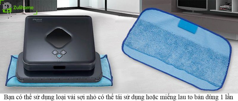 Irobot Braava 380T   Phù hợp nhiều loại vải lau