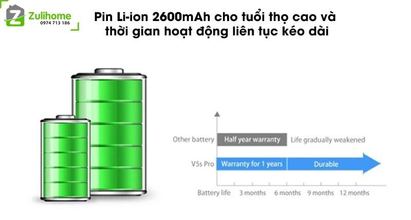 ILIFE V5S PRO | Pin Lion tuổi thọ cao và thời gian hoạt động liên tục