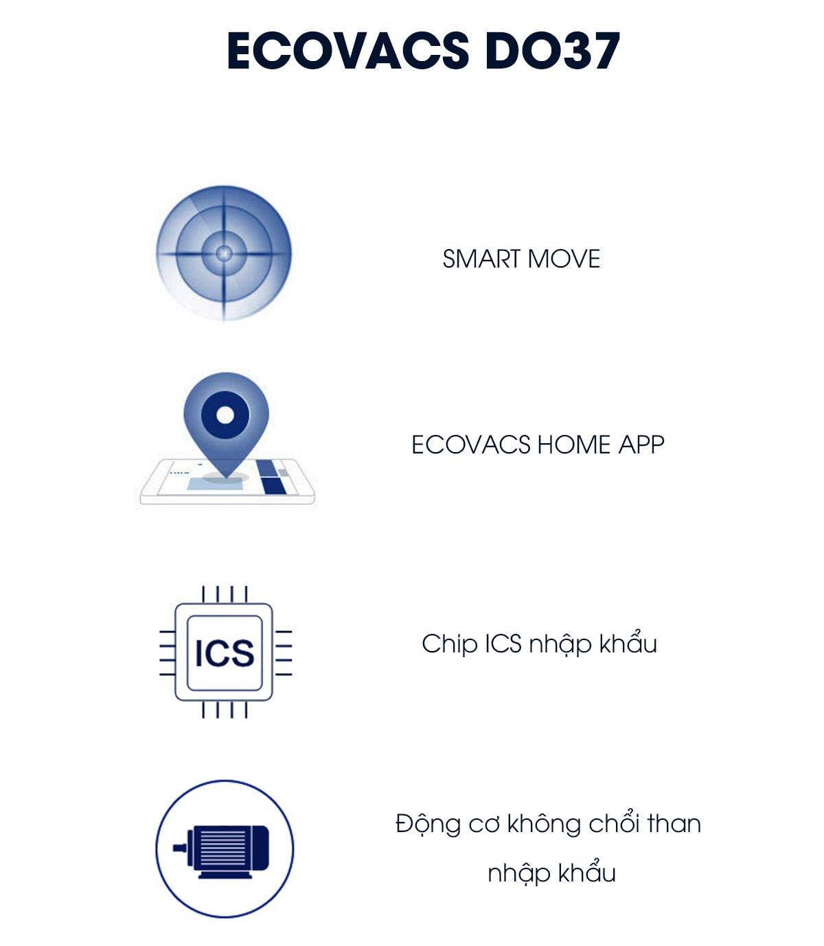 Ecovacs Deebot DO37 có hệ thống di chuyển thông minh