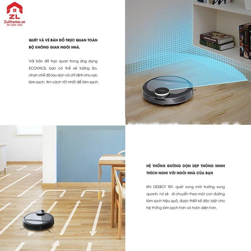 Ecovacs Deebot DE53 quét 360 độ và tạo hệ thống đường dọn dẹp thông minh