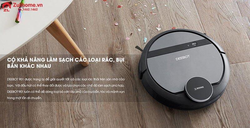 Ecovacs Deebot DE53 có khả năng làm sạch các loại bụi bẩn khác nhau
