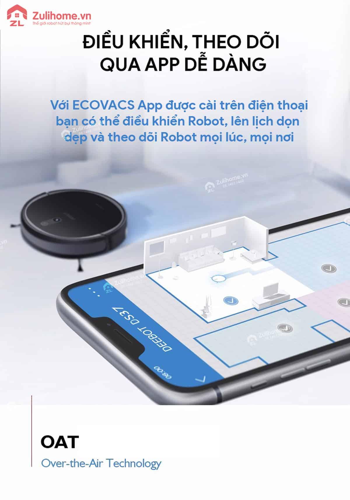 Ecovacs Deebot DS37 | Điều khiển dễ dàng qua app