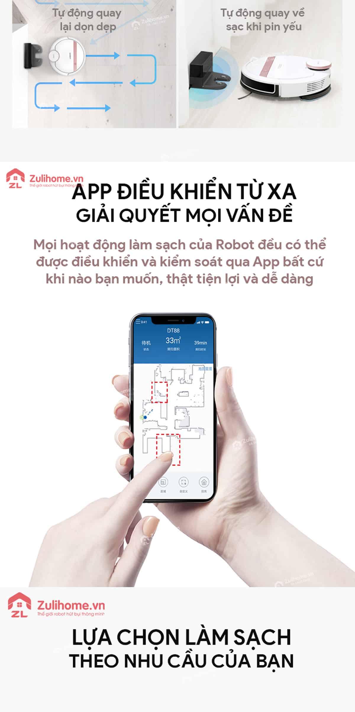 Ecovacs Deebot DT88   Điều khiển từ xa qua app