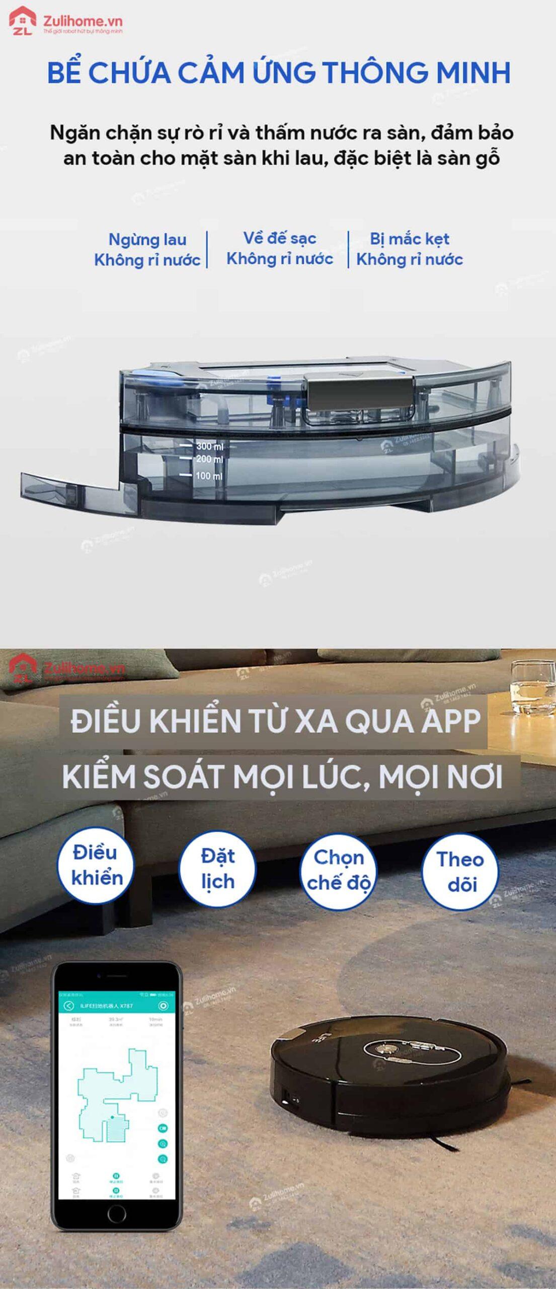 ILIFE X787 | Bể chứa cảm ứng thông minh