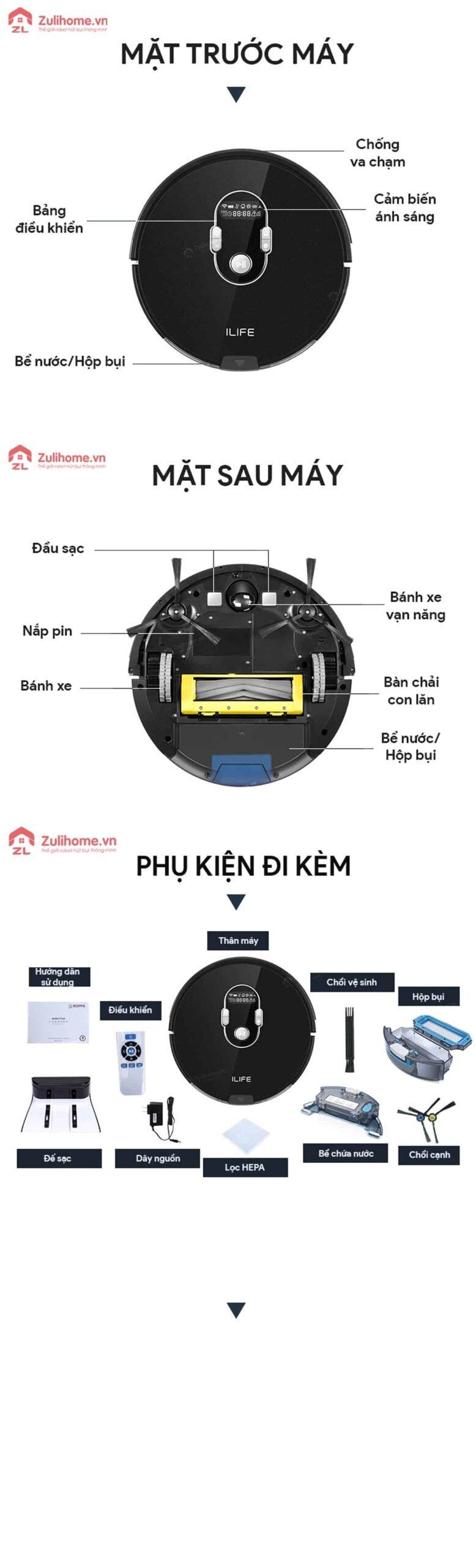 ILIFE X787 | Bộ phận trước và sau máy