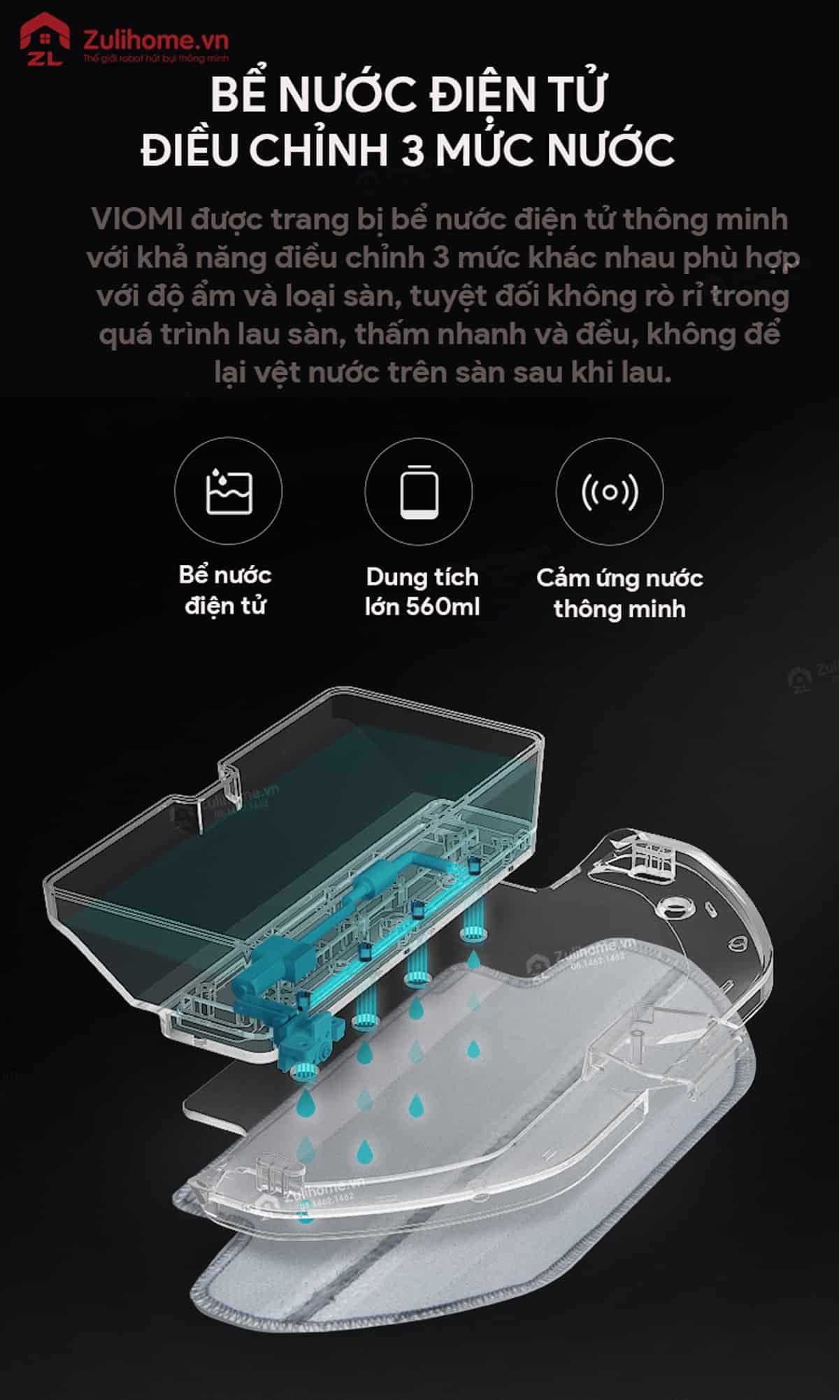 Xiaomi Viomi Yunmi được trang bị bể nước điện tử