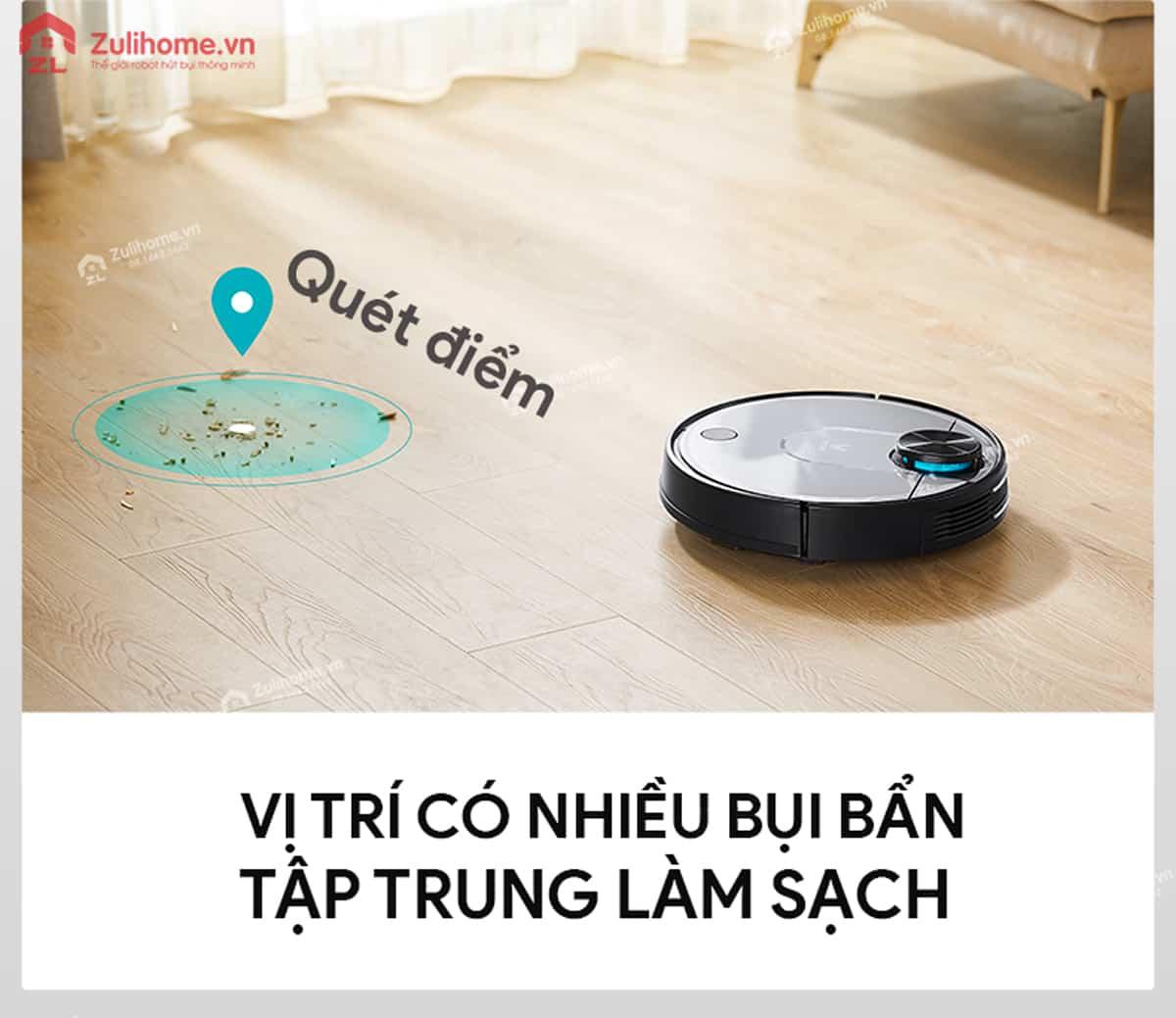 Xiaomi Viomi Yunmi tập trung vị trí có nhiều bụi bẩn để làm sạch