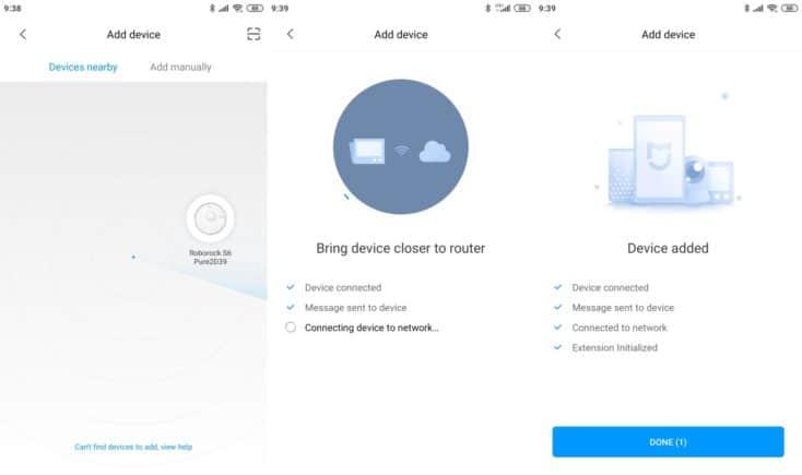 Quy trình cài đặt WiFi cho robot thông qua ứng dụng Mi Home dễ dàng.